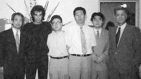The Tenyo Creative Team pictured backstage with David Copperfield after a performance in Japan in 1992. Pictures Left to Right: Hiroshi Kondo, David Copperfield, Tooru Suzuki, Shigeru Sugawara, Tomoyuki Shimomura and the then President of Tenyo Akira Yamada.
